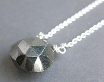 PYRITE faceted briolette sterling necklace