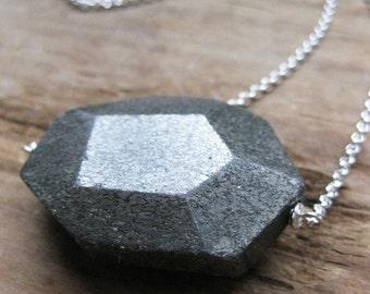 large PYRITE FACET sterling necklace