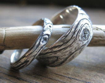 wood grain wedding ring PLYWOOD sterling silver SET faux bois twig rings made to order