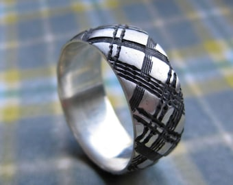 mens WIDE PLAID ring sterling silver size 10.5 wedding band