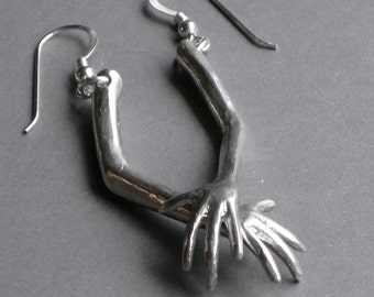 surreal jewelry weird toy ARM solid sterling silver earrings