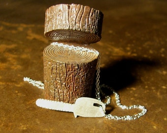 CHAINSAW sterling silver necklace