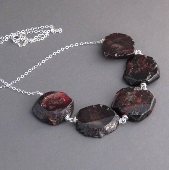 blood red GARNET quintet necklace