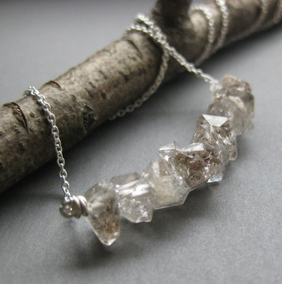 TINY HERKIME twin pointed quartz crystal necklace