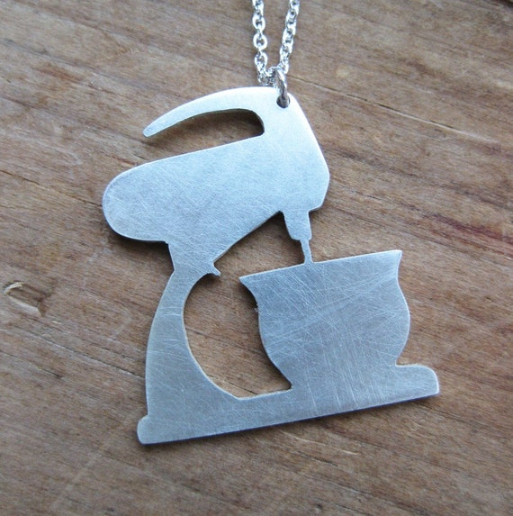 antique MIXMASTER sterling silver silhouette necklace