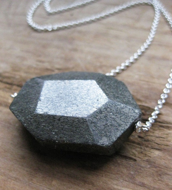 large PYRITE FACET sterling necklace