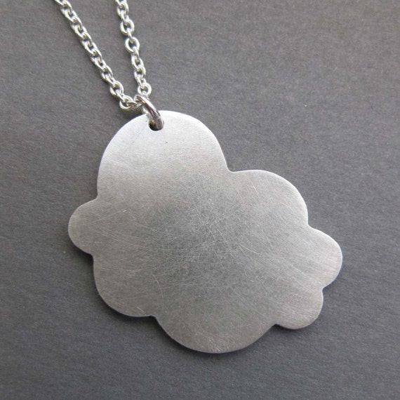 storm CLOUD sterling silver silhouette charm necklace