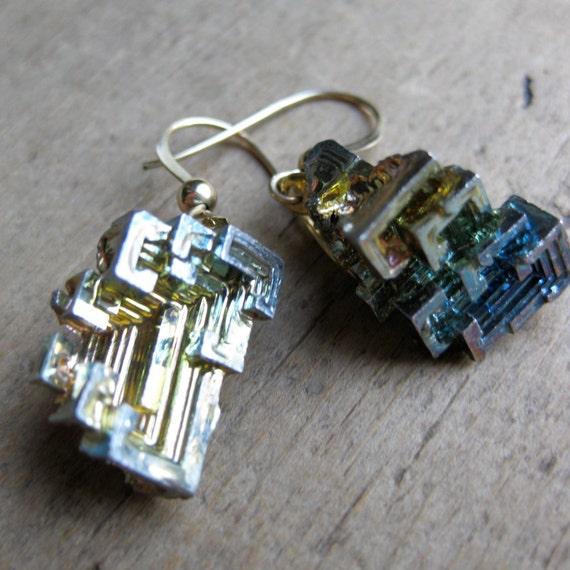 elemental BISMUTH crystal earrings