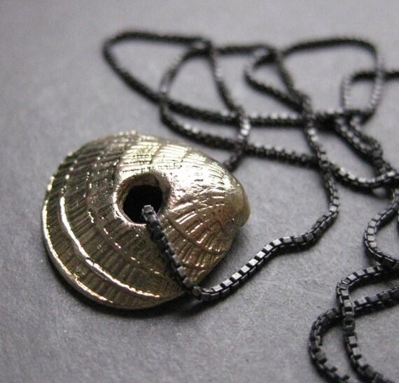 tiny brass seashell charm MOLLUSK necklace