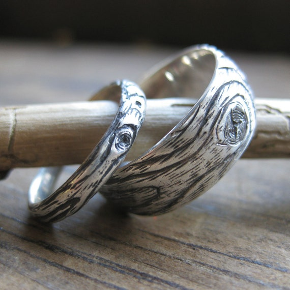 Wood Grain Wedding Ring Plywood Sterling Silver Set Faux Bois