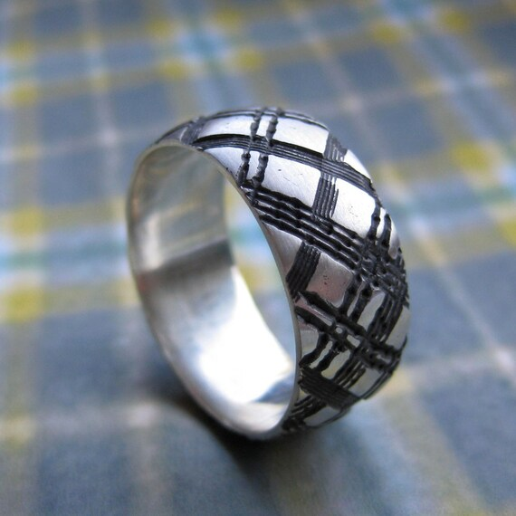 Mens WIDE PLAID Ring Sterling Silver Custom Size Wedding Band