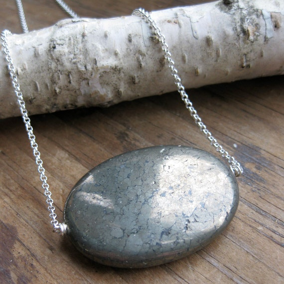 oval DOT pyrite sterling necklace