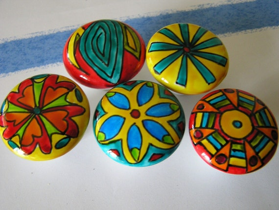 WHERE ARE MY SHADES hand painted cabinet knobs handles pulls