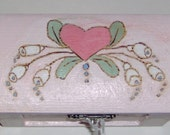 Wood trinket box, pink with heart and flowers - design inside lid