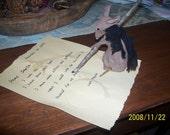 Primitive Christmas Mouse-  Mousie Letter to Santa