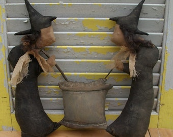 Primitive Halloween Witches Stir Cauldron