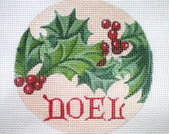 Handpainted Needlepoint Canvas Noel and Holly