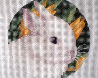 Handpainted Needlepoint Canvas Baby White Bunny