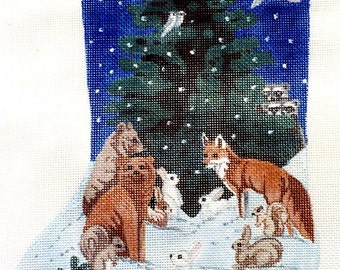 Handpainted needlepoint canvas Night in the Forest Needlepoint Stocking