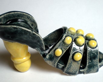 Hand sculpted Ceramic Blue and Yellow Slipper