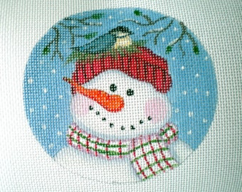 Handpainted Snowman and Birdnest needlepoint canvas