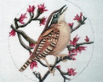 Handpainted Carolina Wren Needlepoint Canvas