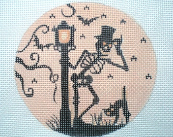 Handpainted Needlepoint Canvas Skeleton and Lamp Post Silhoutte