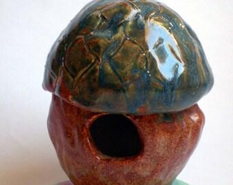 Hand Sculpted Clay Acorn and Maple leaf Birdhouse