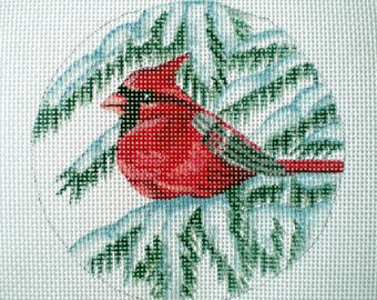 Handpainted Needlepoint Canvas Cardinal