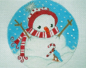 Handpainted Snowman, Bluebird and Candy Cane Needlepoint canvas