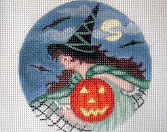 Handpainted Needlepoint Canvas Witches Night Out