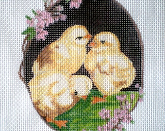 Handpainted Baby Chicks and Dogwood border Needlepoint Canvas