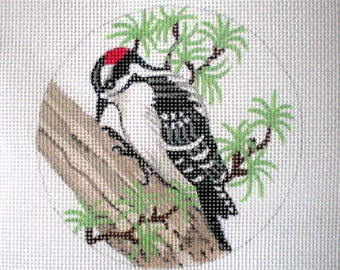 Handpainted needlepoint canvas Snowy Woodpecker