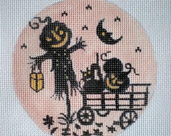 Handpainted Needlepoint canvas Silhouette Jack O Lantern