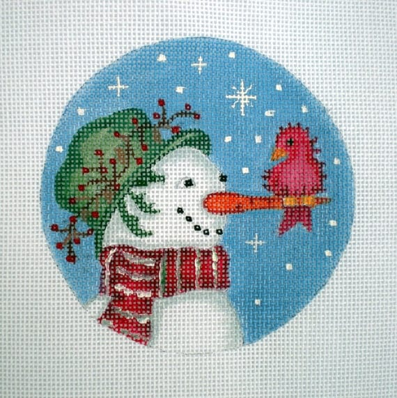 Handpainted needlepoint canvas Snowman and redbird