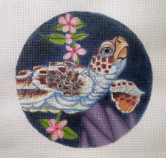 """Handpainted needlepoint canvas 5"""" Sea Turtle"""