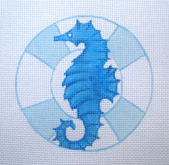 Seahorse Hand Painted Needlepoint Canvas