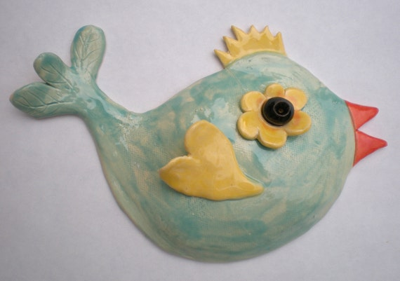 Hand sculpted Aqua Bluebird with Yellow Wing and Crown