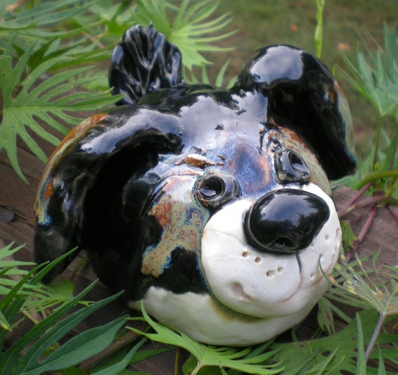 Hand Sculpted Clay Brown, Black and White Garden Puppy