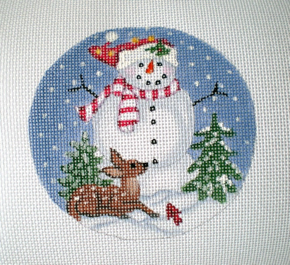 handpainted Snowman with baby fawn needlepoint canvas