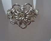 Silver Chainmaillle Flower Ring
