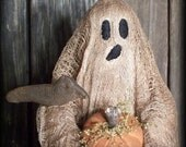 Primitive Halloween Ghost Make Do Doll with Crows, Pumpkins E-PATTERN