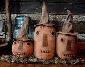 Primitive Folk Art Halloween Witch Pumpkin Shelf Sitter E-PATTERN