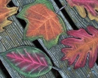 Primitive Fall Leaves Scatter Ornies Digital PDF Pattern