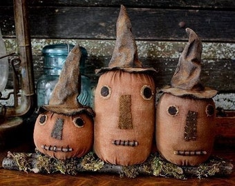 Primitive Folk Art Halloween Witch Pumpkin Shelf Sitter Digital PDF Pattern