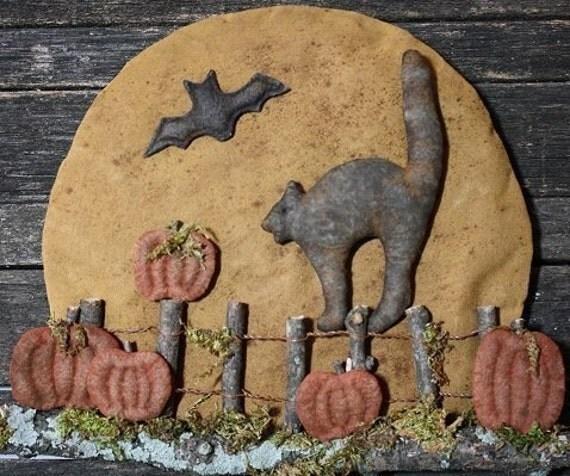 Primitive Halloween Black Cat Moon Door Hanger E-PATTERN