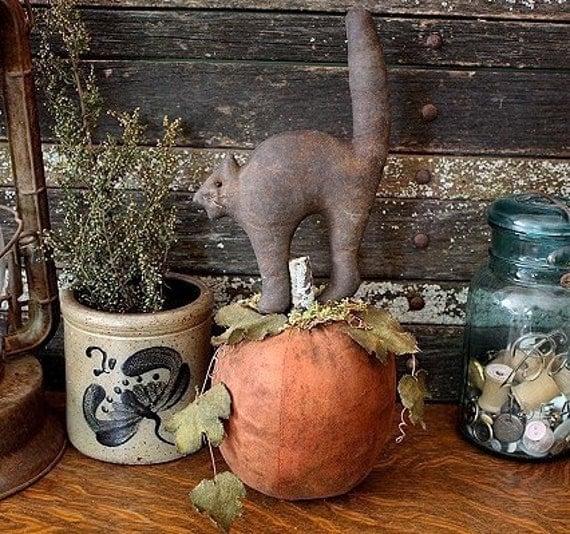 Primitive Halloween Scary Black Cat Pumpkin E-PATTERN