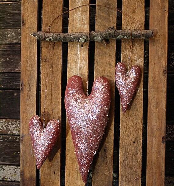 Primitive Simple Valentine Hearts Door Hanger E-Pattern