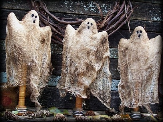 Primitive Halloween Ghost Make Do Dolls E-PATTERN