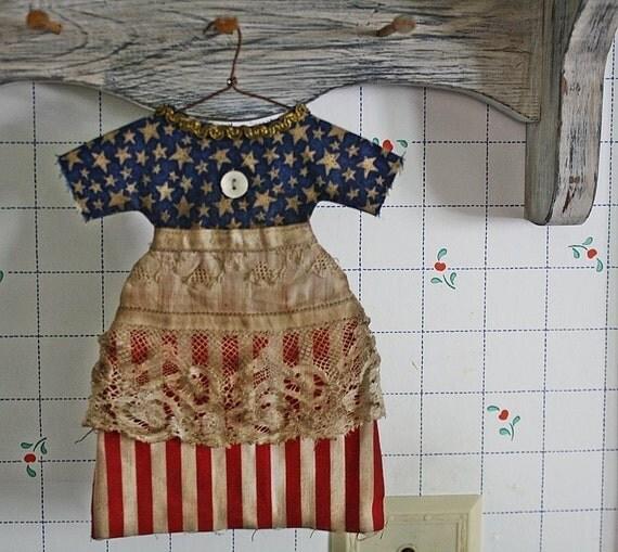 Primitive Folk Art Doll Dress Ornie E-PATTERN